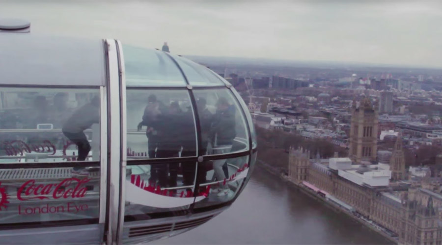 Talk about getting high! Cannabis activists 'hot-box' a pod on the London Eye (VIDEO)