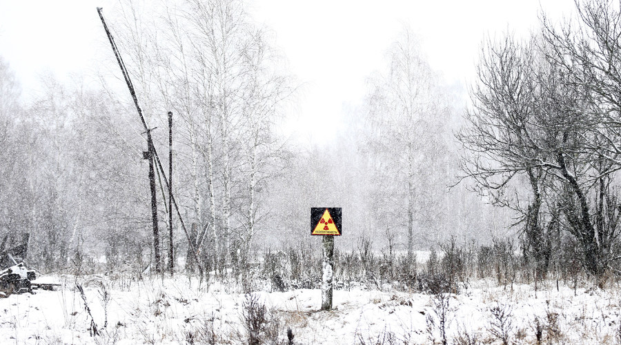 A radiation sign is seen in the 30 km (19 miles) exclusion zone around the Chernobyl nuclear reactor in the abandoned village of Dronki, Belarus. © Vasily Fedosenko