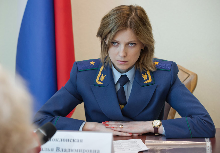 Prosecutor General of the Republic of Crimea Natalya Poklonskaya receives citizens to discuss private matters. © Sergey Malgavko