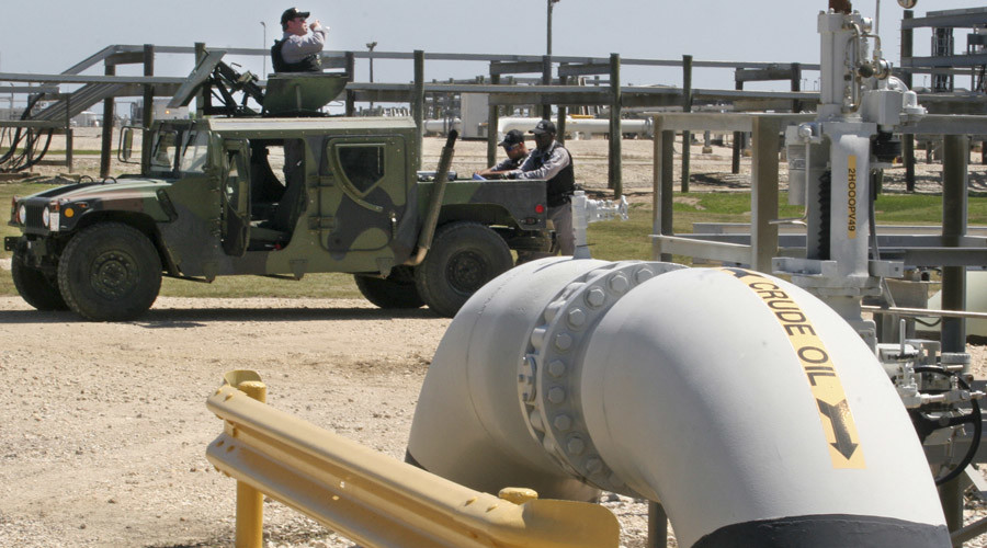 Private security contractors patrol the U.S. Department of Energy's Strategic Petroleum Reserve in Bryan Mound, Texas © Donna W. Carson