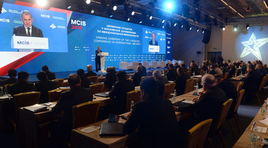 04/27/2016. Russian Defense Minister Sergey Shoigu speaks at the 5th International Security Conference, Moscow. © Grigoriy Sisoev