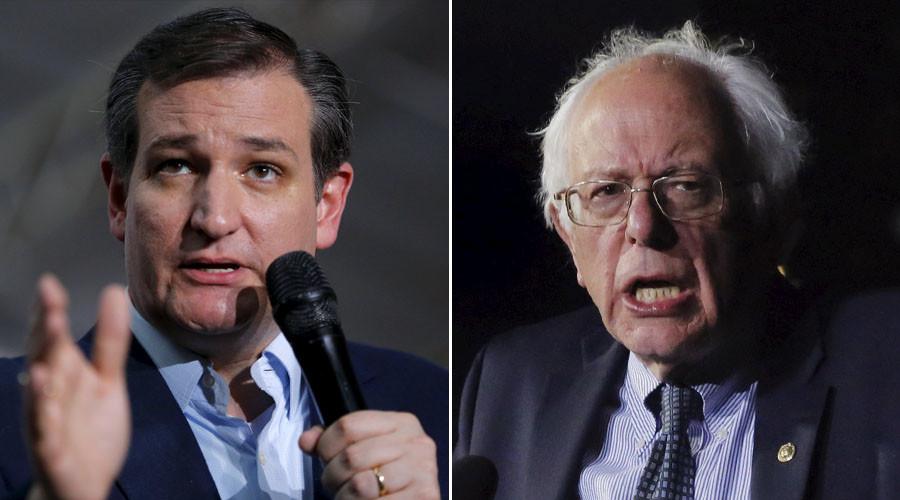 Republican U.S. presidential candidate and U.S. Senator Ted Cruz (L) and U.S. Democratic presidential candidate Bernie Sanders. ©Reuters