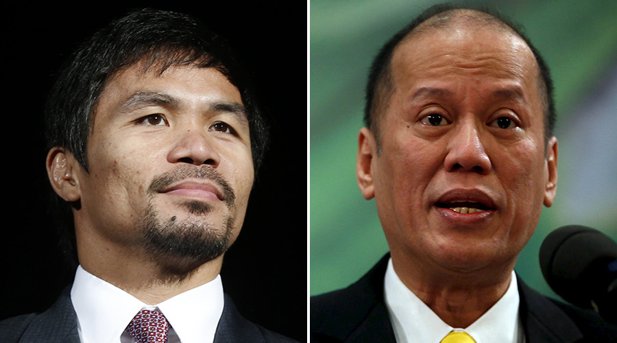 "Eight-division world champion Manny ""Pac-Man"" Pacquiao (L) and Philippines President Benigno Aquino © Reuters"