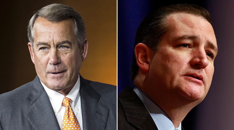 John Boehner (L) and Republican presidential candidate Sen. Ted Cruz © Reuters