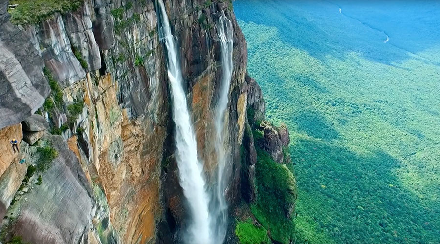 Breathtaking views of world's highest waterfall captured by drone (VIDEO)