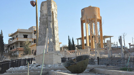 A view shows the damage in the town of al-Qaryatain, Syria, after forces loyal to Syria's President Bashar al-Assad recaptured it in this picture provided by SANA on April 3, 2016. © SANA