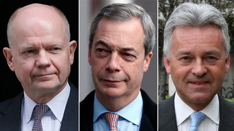 British Conservative MP and former leader of The House of Commons, William Hague (L), UKIP party leader Nigel Farage (C) and Tory MP Alan Duncan (R). © Reuters / Wikipedia