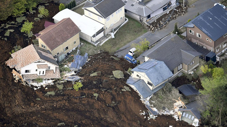 The aftermath of a landslide and destroyed houses caused by an earthquake are seen in Minamiaso town, Kumamoto prefecture, southern Japan, in this photo taken by Kyodo April 16, 2016. © Reuters