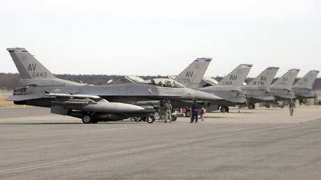 U.S. Air Force 510th Fighter Squadron F-16 fighters are seen parked on tarmac in Amari air base © Ints Kalnins