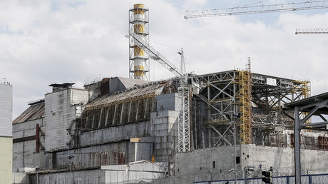 A sarcophagus covering the damaged fourth reactor at the Chernobyl nuclear power plant, Ukraine April 22, 2016. © Gleb Garanich
