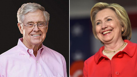 Businessman Charles Koch and Democratic presidential candidate Hillary Clinton. © Koch Industries
