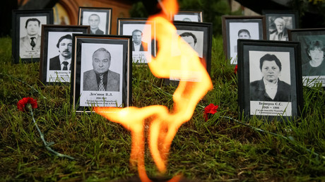"Portraits of ""liquidators"", emergency workers who fought the blaze at the Chernobyl nuclear reactor, are seen during a commemoration ceremony in Kiev, Ukraine, April 26, 2016. © Gleb Garanich"