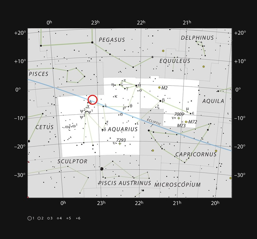 The ultracool dwarf star TRAPPIST-1 in the constellation of Aquarius © eso.org