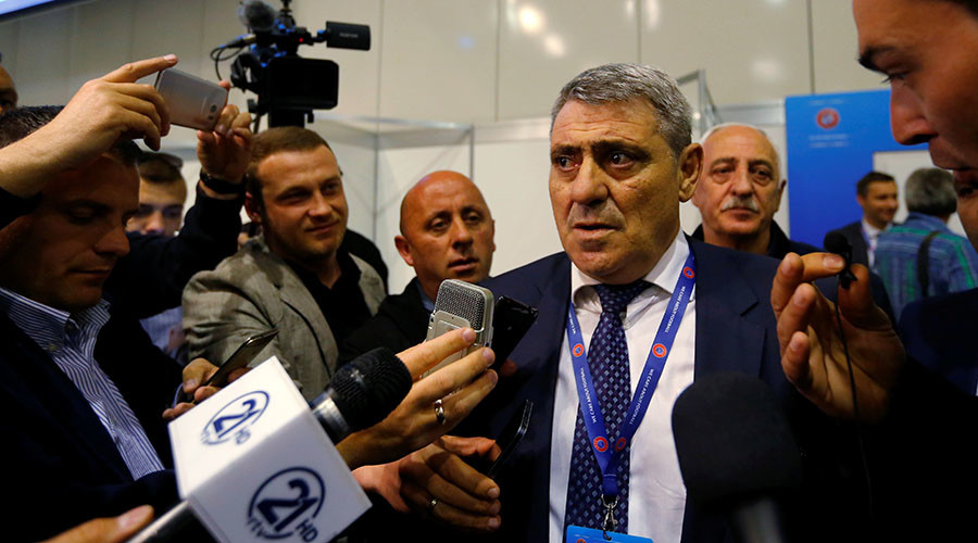 Representative of the Kosovo Soccer Federation Fadil Vokrri speaks to the media after UEFA admitted Kosovo as its newest member during the 40th Ordinary UEFA Congress in Budapest, Hungary, May 3, 2016. © Laszlo Balogh