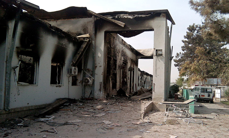 The damaged hospital in which the Medecins Sans Frontieres (MSF) medical charity operated is seen on October 13, 2015 following an air strike in the northern city of Kunduz. © AFP