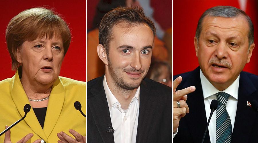 German Chancellor Angela Merkel (L), German comedian Jan Boehmermann (C) and Turkish President Tayyip Erdogan. ©Reuters