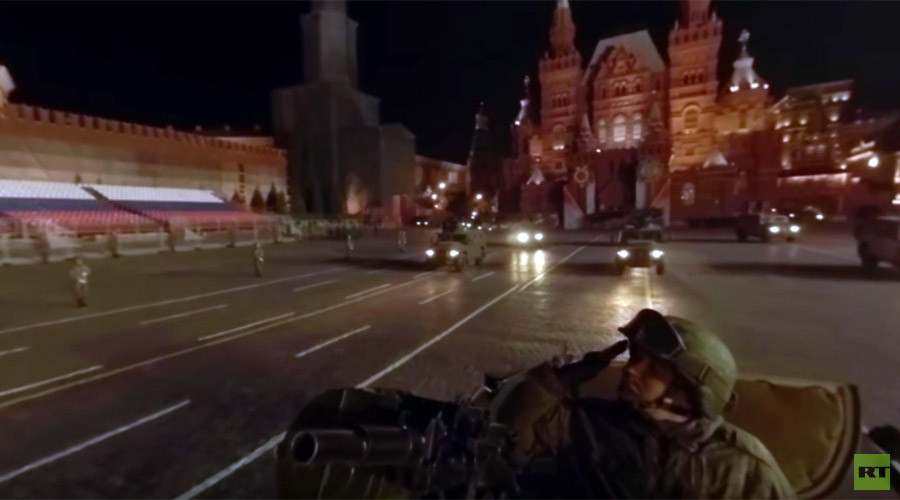 Cruise Moscow's Red Square at night atop an APC with a 360 view during V-Day parade prep