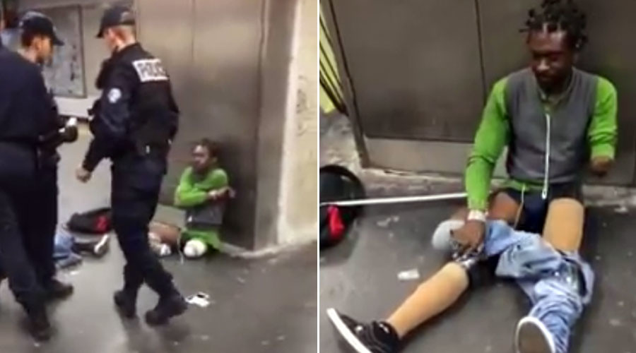 Outrage erupts at Paris police's 'brutal' search of triple-amputee man at train station (VIDEO)