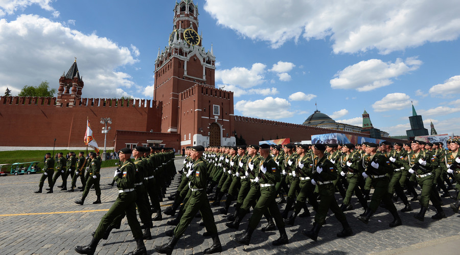 Troops formations march on Red Square, Moscow during the final practice of the military parade marking the 71st anniversary of the victory in the Great Patriotic War. © Iliya Pitalev