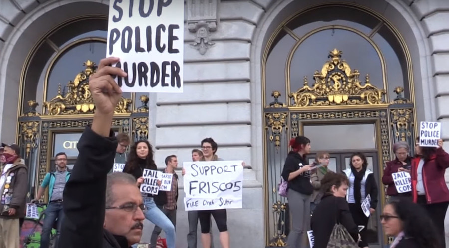 SF cops tackle police brutality protesters as 'Frisco Five' continue hunger strike (VIDEOS)