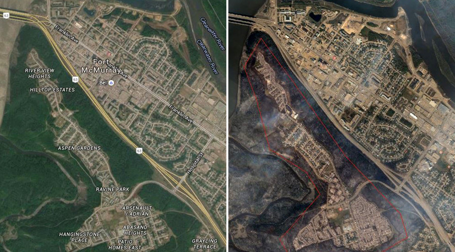 Before & After: Satellite images show wildfire devastation wreaked on Fort McMurray (PHOTOS)