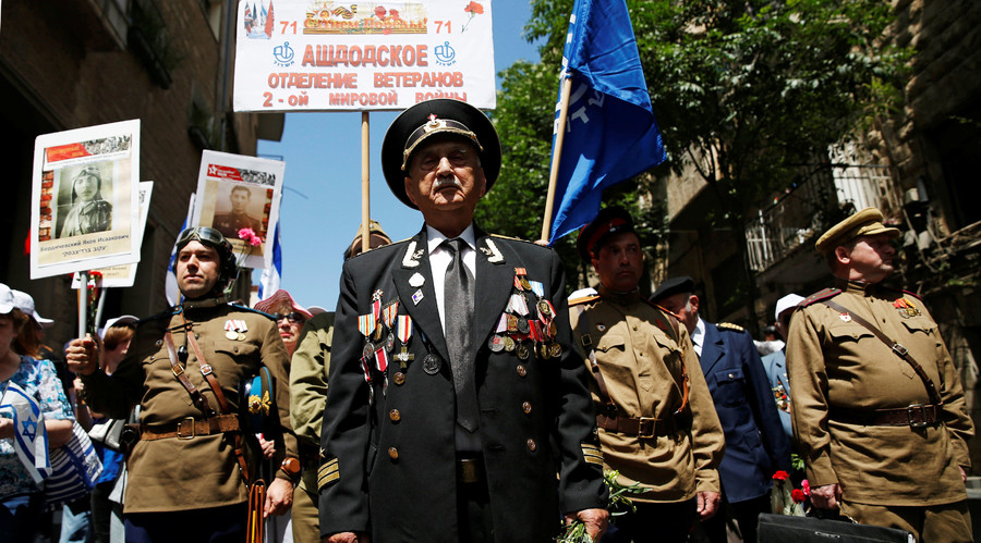 Jewish Red Army veterans take part in a parade marking Victory Day, the anniversary of the victory of the Allies over Nazi Germany, in Jerusalem May 8, 2016. © Baz Ratner