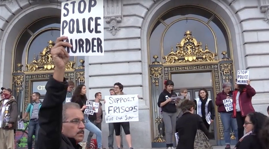 Hundreds of protesters striking at SF City Hall over police killings