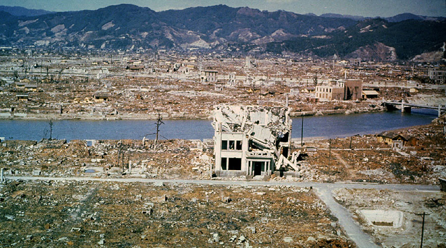 This general view of the city of Hiroshima showing damage wrought by the atomic bomb was taken March 1946, six months after the bomb was dropped August 6, 1945. © Reuters