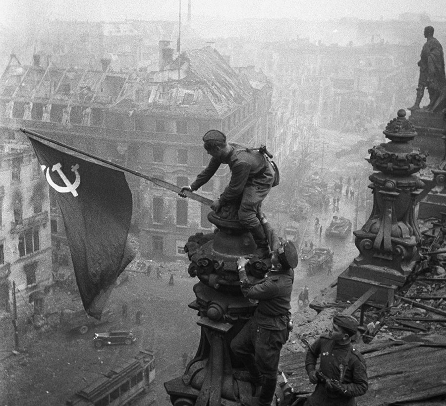 World War II, 1941 - 1945. The Victory Banner over Reichstag, Berlin. May 1, 1945. © Vladimir Grebnev