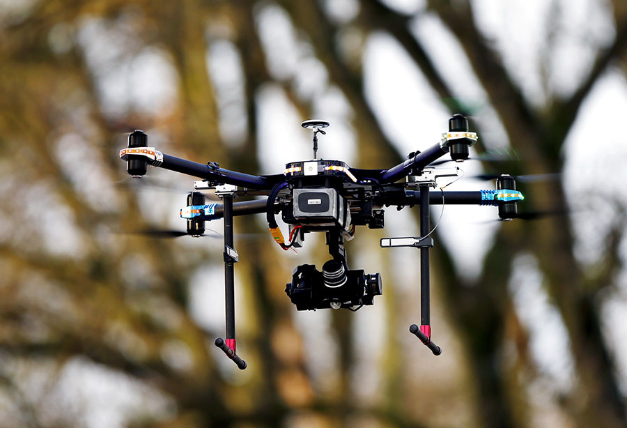 A Belgian Federal Police drone takes off from the airfield, Brasschaat ©Francois Lenoir