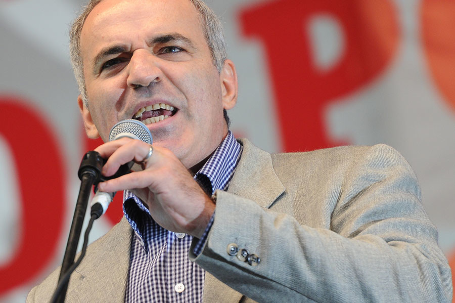 """Leader of the United Civil Front Garry Kasparov speaks during a rally after the """"March of Millions"""" on Sakharov Avenue, Moscow. ©Ramil Sitdikov"""