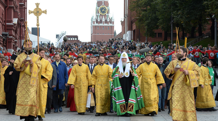 Patriarch Kirill of Moscow and All Russia, center, during a religious procession along the historic Peter Road from the Moscow Kremlin to the High Monastery of Saint Peter. © Sergey Pyatakov