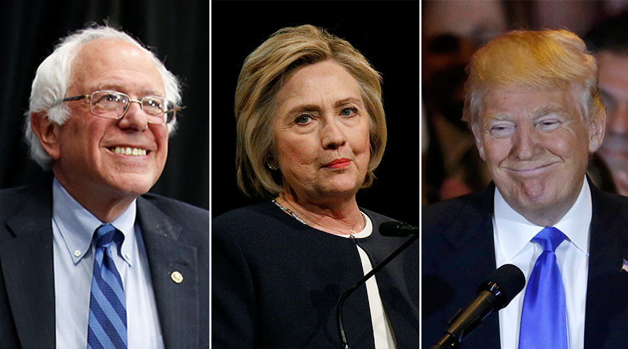 Democratic U.S. presidential candidate and U.S. Senator Bernie Sanders, Democratic U.S. presidential candidate Hillary Clinton  and Republican U.S. presidential candidate Donald Trump © Reuters