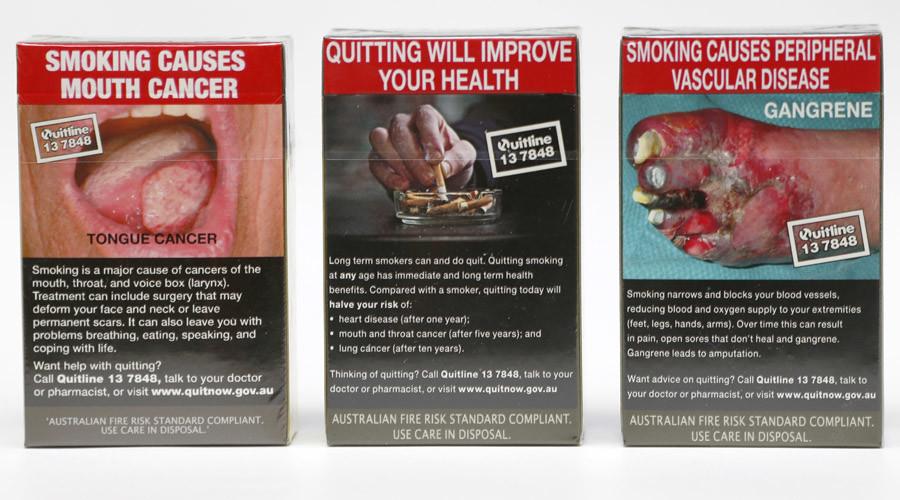 Photo illustration of new mandatory packaging for cigarettes sold in Australia November 29, 2012 © Tim Wimborne