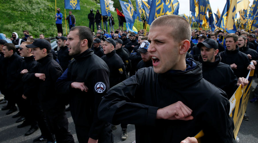 "Members of the Ukrainian interior ministry's ""Azov"" battalion attend a protest against local elections in  eastern Ukraine under the Minsk peace agreement, in Kiev, Ukraine, May 20, 2016. © Gleb Garanich"
