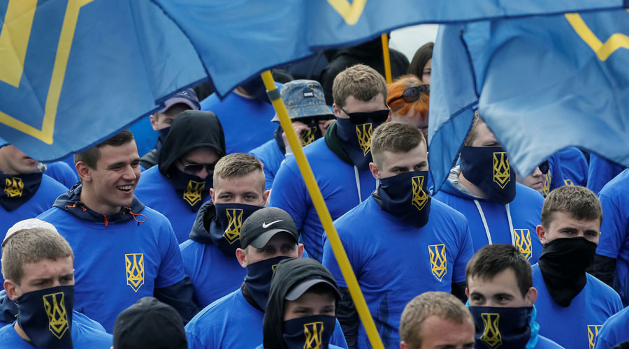 "Members of the Ukrainian national guard ""Azov"" regiment and activists of the Azov civil corp take part in a protest against local elections in eastern Ukraine under the Minsk peace agreement, in Kiev, Ukraine, May 20, 2016. © Gleb Garanich"