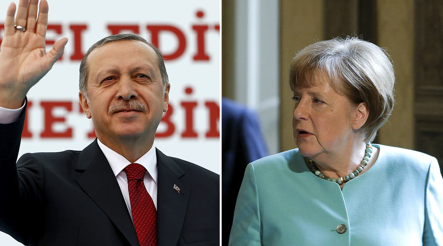 Turkish President Recep Tayyip Erdogan (L), German Chancellor Angela Merkel. © Reuters