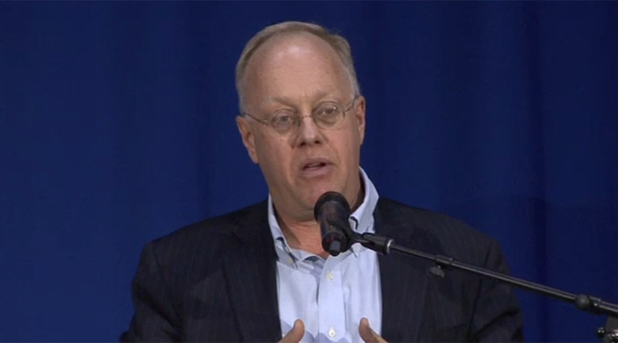 Chris Hedges headlined the opening night event. © livestream.com
