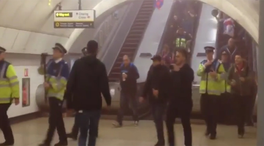 Charing Cross tube evacuated after football fan reportedly sets off smoke bomb (VIDEO)