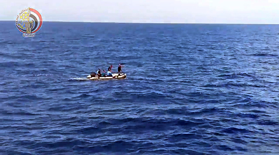 An image grab taken from a video uploaded on the official Facebook page of the Egyptian military spokesperson on May 21, 2016 and taken from an undisclosed location reportedly shows search teams looking for debris in the sea after the EgyptAir Airbus A320 crashed in the Mediterranean © HO
