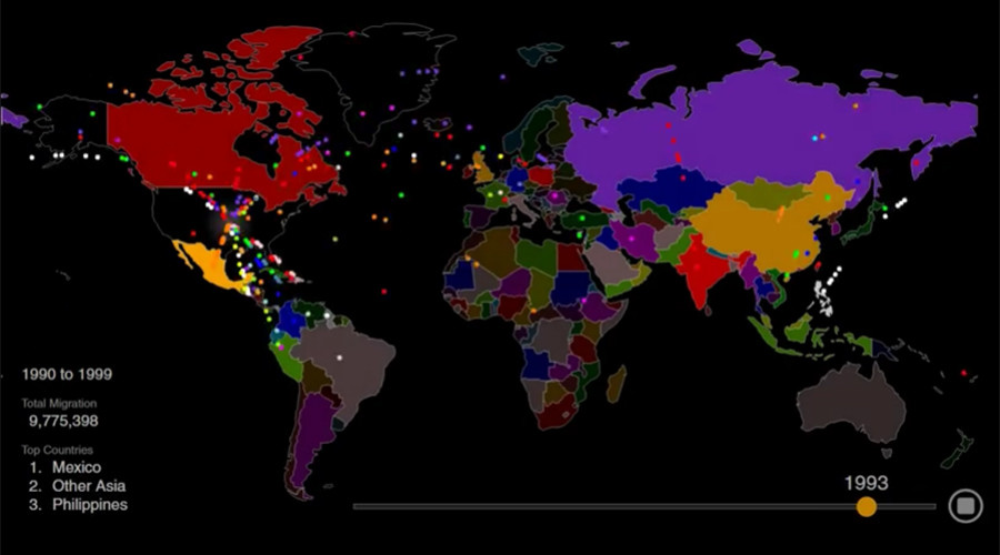 Hypnotic animated map shows 200 years of US immigration in 1 minute (VIDEO)