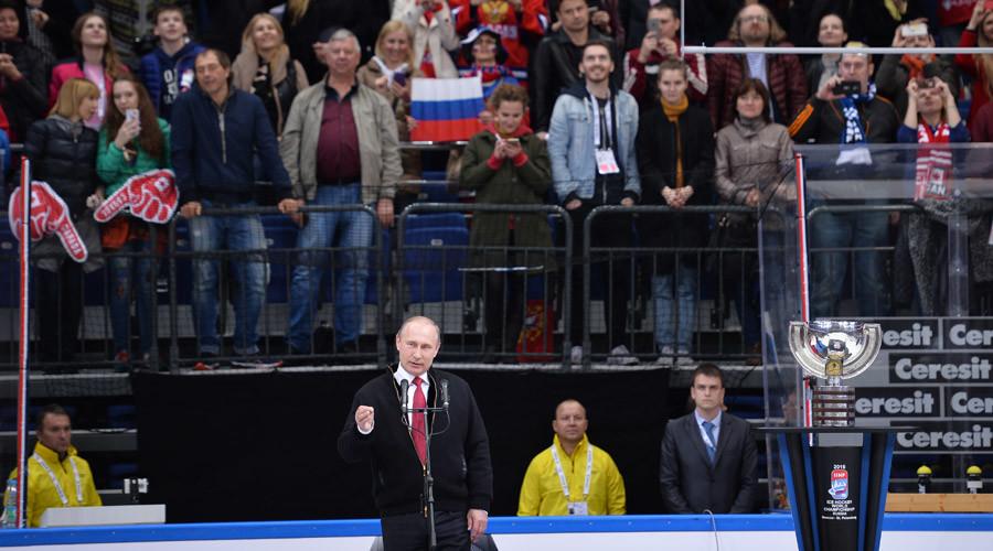 Russian President Vladimir Putin during the 2016 IIHF World Championship award ceremony, May 22, 2016. © Ramil Sitdikov
