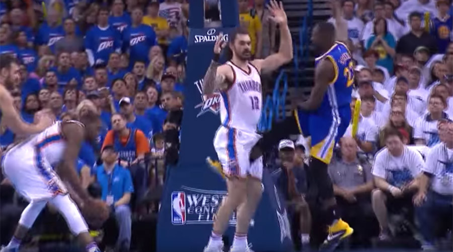 Ouch! Oklahoma Thunder's Steven Adams hit in the groin… again (VIDEO)