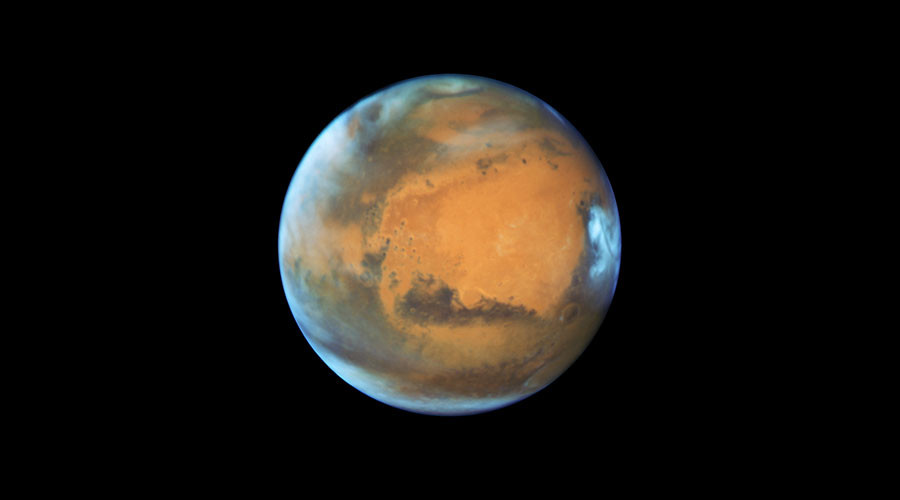 The planet Mars is shown May 12, 2016 in this NASA Hubble Space Telescope view taken May 12, 2016 when it was 50 million miles from Earth. © NASA