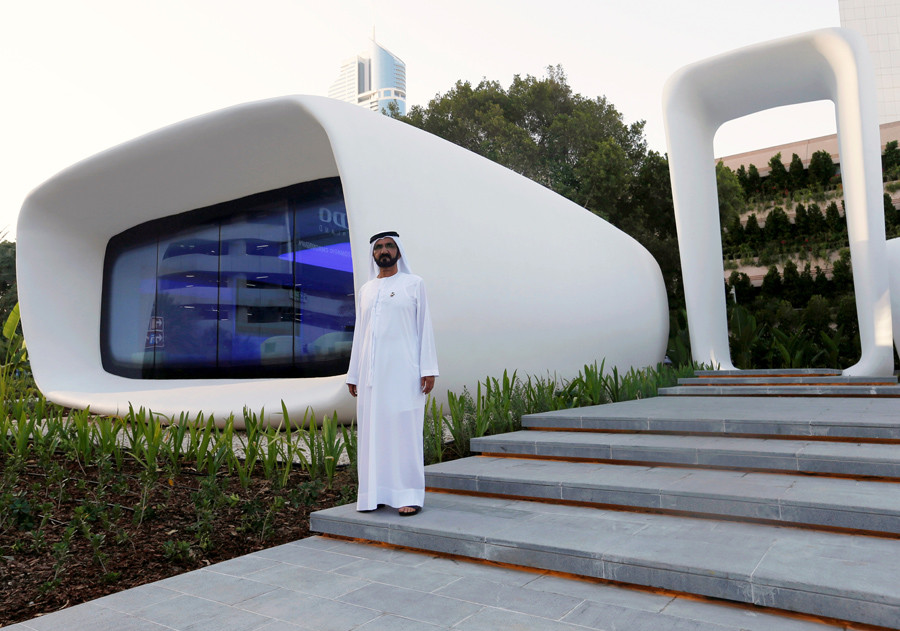 Sheikh Mohammed bin Rashid Al Maktoum, Vice-President and Prime Minister of the UAE and Ruler of Dubai, stands in front of the the first world functional 3D printed offices during the official opening in Dubai May 23, 2016. © Ahmed Jadallah