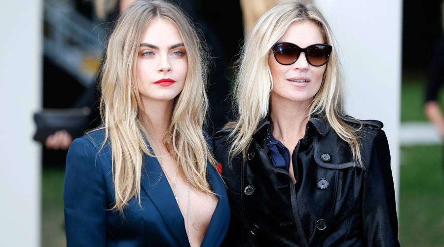 Models Cara Delevingne (L) and Kate Moss © Stefan Wermuth