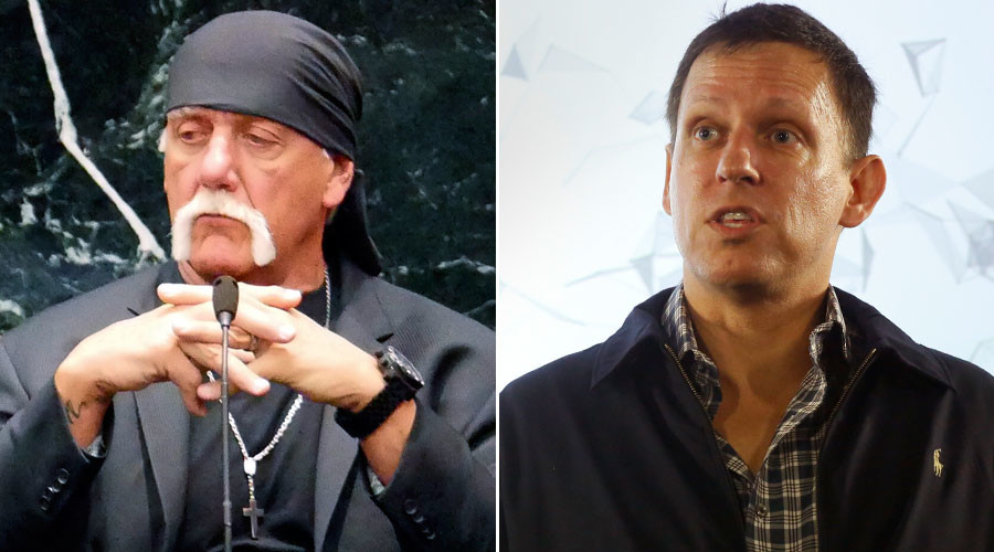 Terry Bollea, known as professional wrestler Hulk Hogan, Peter Thiel © Boyzell Hosey, Jacky Naegelen