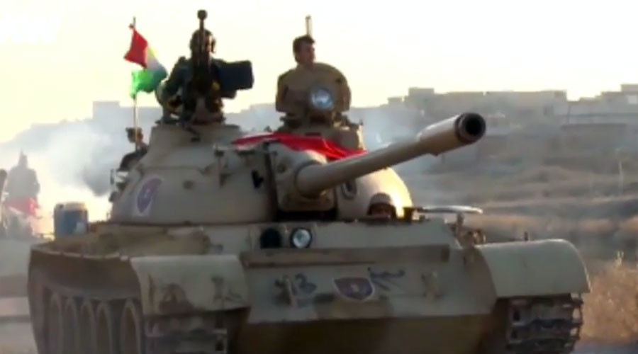 Kurdish forces equipped with T-55 tanks launch ISIS offensive (VIDEO)
