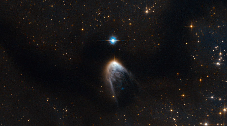 This young star is breaking out. Like a hatchling pecking through its shell, this particular stellar newborn is forcing its way out into the surrounding Universe. © ESA/Hubble & NASA Acknowledgements: R. Sahai (Jet Propulsion Laboratory), S. Meunier