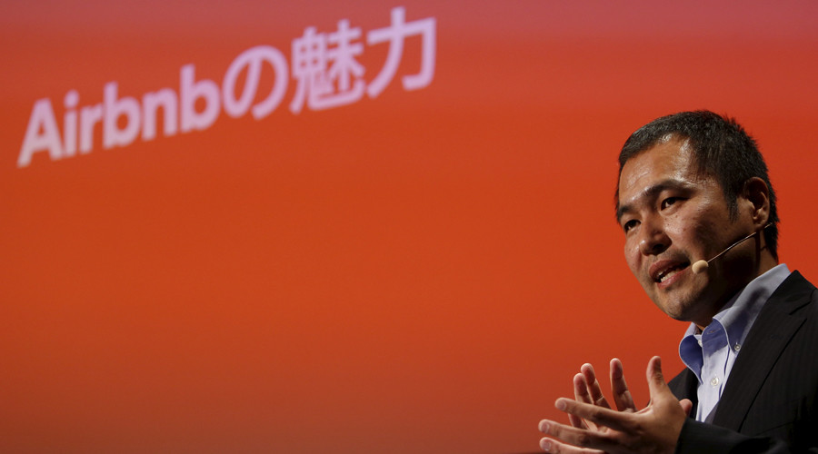Yasuyuki Tanabe, Country Manager of Airbnb Japan, speaks during a news conference in Tokyo, Japan, November 26, 2015. © Yuya Shino
